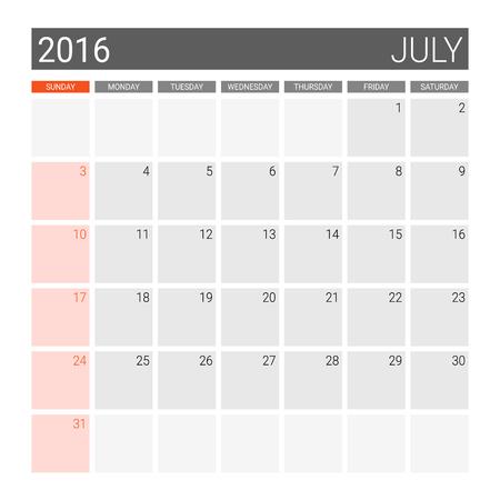 weeks: July 2016 calendar (or desk planner), weeks start from Sunday Illustration