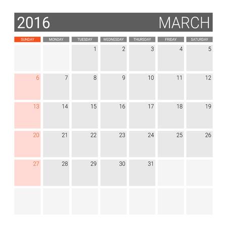 weeks: March 2016 calendar (or desk planner), weeks start from Sunday