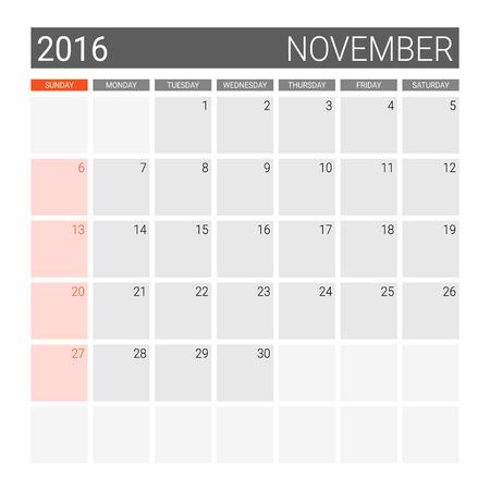 weeks: November 2016 calendar (or desk planner), weeks start from Sunday Illustration