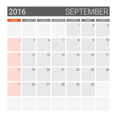 weeks: September 2016 calendar (or desk planner), weeks start from Sunday