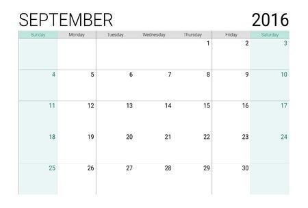 time of the year: September 2016 calendar (or desk planner), weeks start from Sunday
