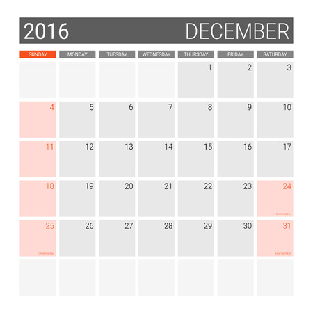 weeks: December 2016 calendar (or desk planner), weeks start from Sunday