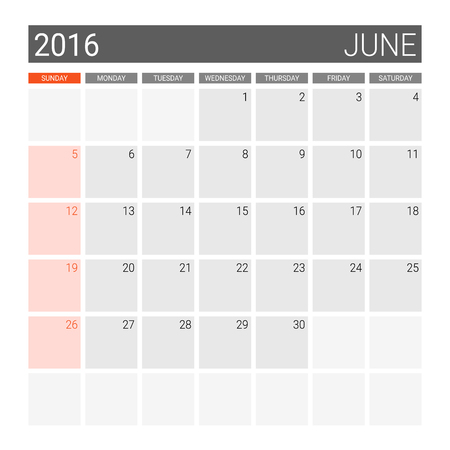 planner: June 2016 calendar (or desk planner), weeks start from Sunday