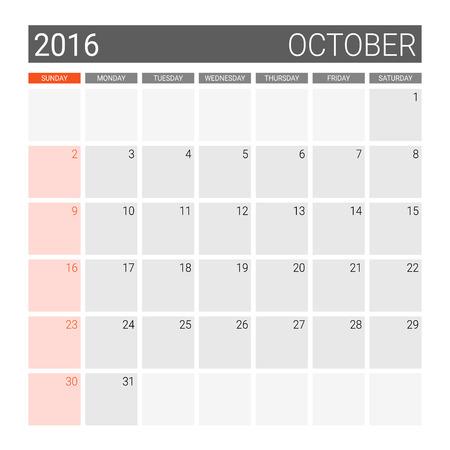 październik: October 2016 calendar (or desk planner), weeks start from Sunday Ilustracja