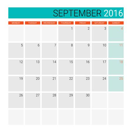 planner: September 2016 calendar or desk planner