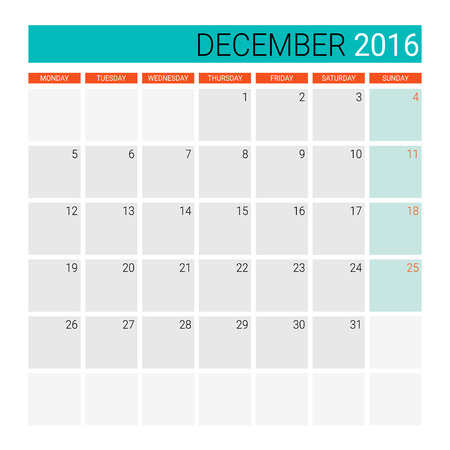 desk calendar: December 2016 calendar or desk planner