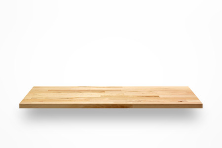 shelf: Empty wooden wall shelf on white background Stock Photo