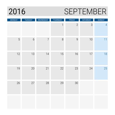 weeks: September 2016 calendar, weeks start from Monday