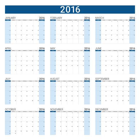 12: 2016 calendar ,12 months, weeks start from Sunday