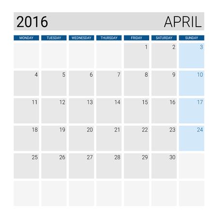 4월: April 2016 calendar, weeks start from Monday