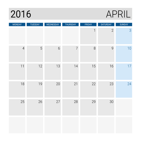 april: April 2016 calendar, weeks start from Monday