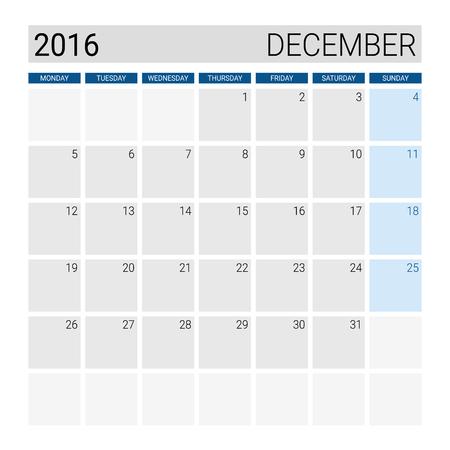 weeks: December 2016 calendar, weeks start from Monday