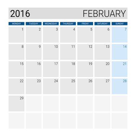 Febuary 2016 calendar, weeks start from Monday Illustration
