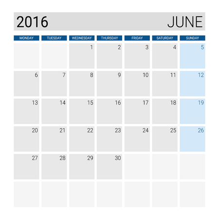 weeks: June 2016 calendar, weeks start from Monday