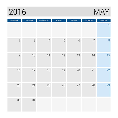 may: May 2016 calendar, weeks start from Monday Illustration
