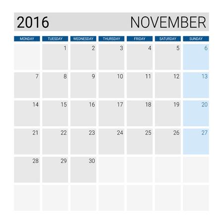 weeks: November 2016 calendar, weeks start from Monday Illustration