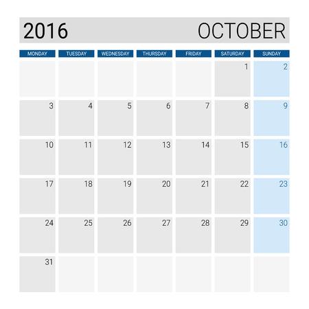 październik: October 2016 calendar, weeks start from Monday