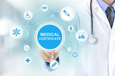 Lekarz strony dotykając zaświadczenie lekarskie znak na wirtualnym ekranie Zdjęcie Seryjne