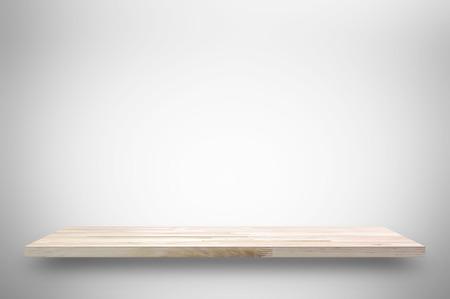 Wooden shelf on white gray gradient background