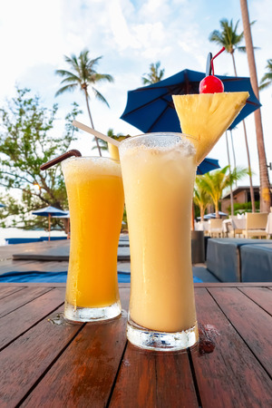 tropical drink: Pineapple smoothies, refreshing tropical non-alcoholic drink