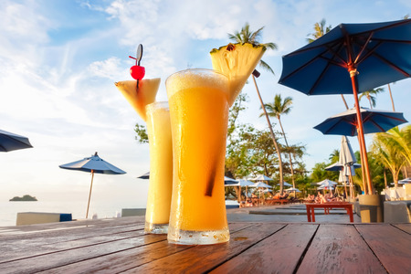 mocktail: Pineapple smoothies, refreshing tropical non-alcoholic drink