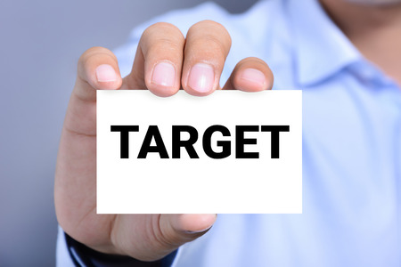 shown: TARGET word on the card shown by a man Stock Photo