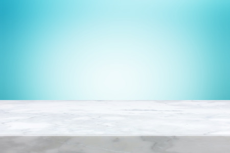 Stone table top on light blue gradient abstract background  - can be used for display or montage your products Imagens