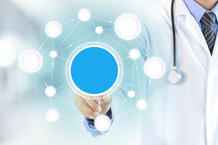Doctor hand touching blank circle on virtual screen, healthcare and medical background concept - can montage your texts (or pictures) in a circle Reklamní fotografie
