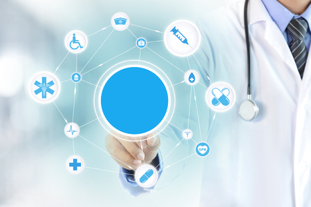 Doctor hand touching blank circle on virtual screen, healthcare and medical background concept - can montage your texts (or pictures) in a circle