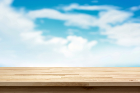 sky cloud: Wood table top on blur summer blue sky and cloud background  - can be used for display or montage your products Stock Photo