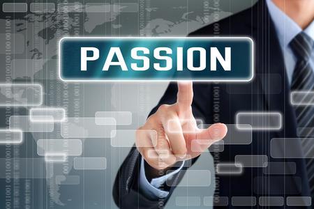 pasion: La mano de negocios palabra PASIÓN tocar en la pantalla virtual
