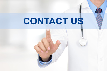 contact us sign: Doctor hand touching CONTACT US sign on virtual screen