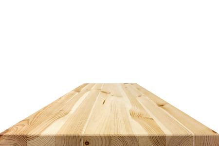 La madera natural superior de la mesa el modelo aislado en el fondo blanco - se puede utilizar para la visualización o sus productos Montage Foto de archivo