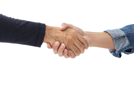 handclasp: Hands of two men wearing casual clothes making handshake - isolated on white background Stock Photo