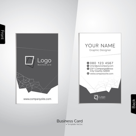 Modern white and gray vertical business card with abstract line polygons -  template