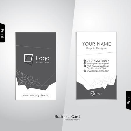 Tarjeta moderna blanco y gris vertical de negocios con polígonos línea abstracta - plantilla Ilustración de vector