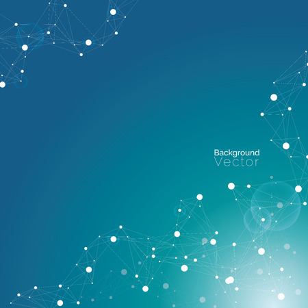 medical abstract: Abstract blue turquoise background with molecular pattern - scientific, biological and medical background concepts