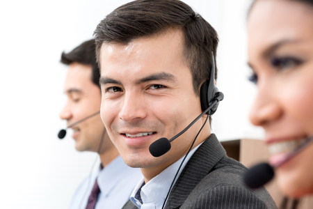 business service: Business people wearing microphone headset - telemarketing, operator, call center and customer service concepts