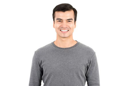 happy smiling: Portrait of happy smiling man wearing casual t-shirt, isolated on white background