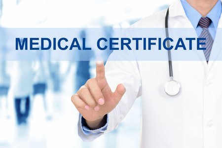 medical sign: Doctor hand touching MEDICAL CERTIFICATE sign on virtual screen Stock Photo