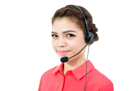 microphone headset: Young businesswoman  wearing microphone headset as an operator, telemarketer, call center and customer service staff