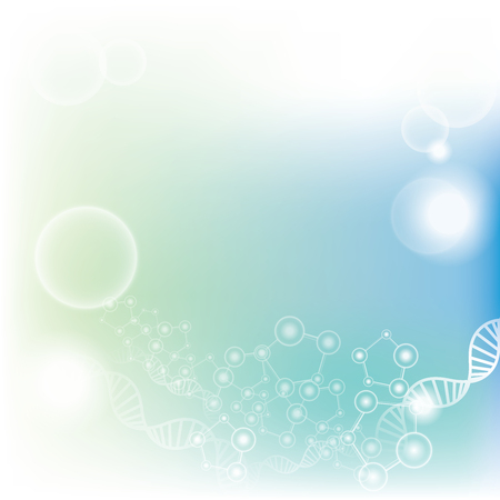 biological: Abstract gradient light blue and turquoise background with molecules and DNA - scientific, biological and medical background concepts