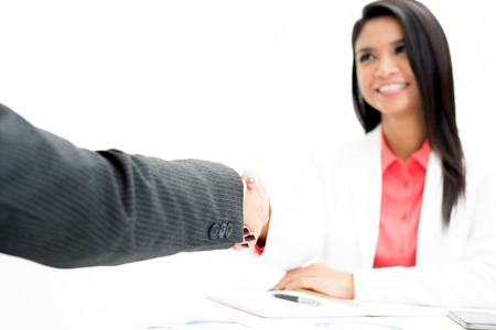 handclasp: Hand of businessman making handshake with a businesswoman