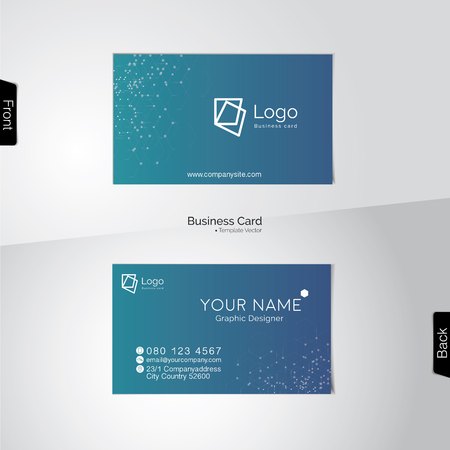 greenish: Modern business card vector template - soft tone with light blue, and turquoise colors