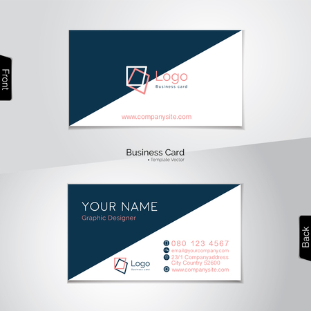 dark blue: Diagonal white and dark blue business card