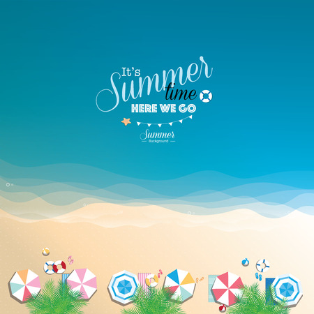 Colorful summer beach background Illustration