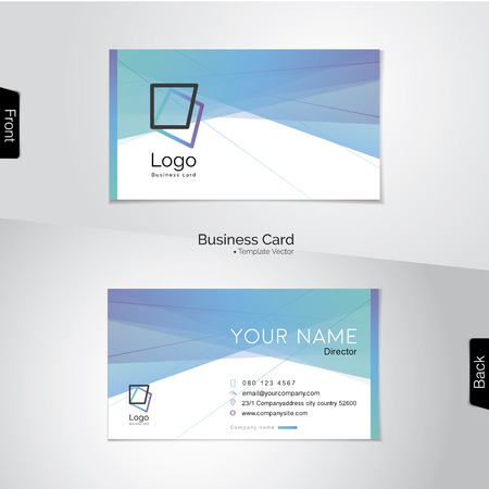 greenish blue: Modern abstract  business card template - soft tone with light blue, green, purple and white colors