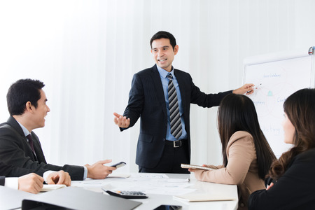 Businessman as a meeting leader giving presentation in the meeting room