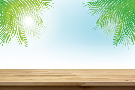coconut leaves: Wood table top on summer tropical sky background with green coconut leaves - can be used for display or montage your products