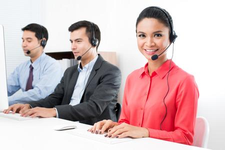 Call center (operator of telemarketeer) team Stockfoto